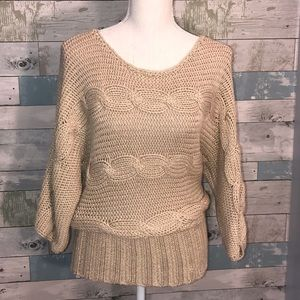 Bebe gold sweater loose knit lightweight small